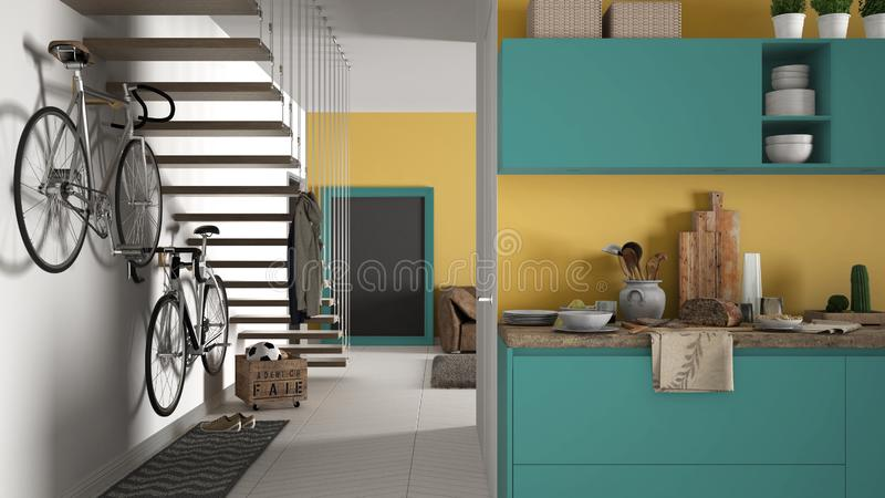 Minimalist modern kitchen with healthy breakfast, living room and wooden staircase, contemporary yellow and turquoise interior des. Ign stock images