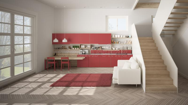 Minimalist modern white, red and wooden kitchen in contemporary open space with clean staircase, living room with sofa and carpet royalty free illustration