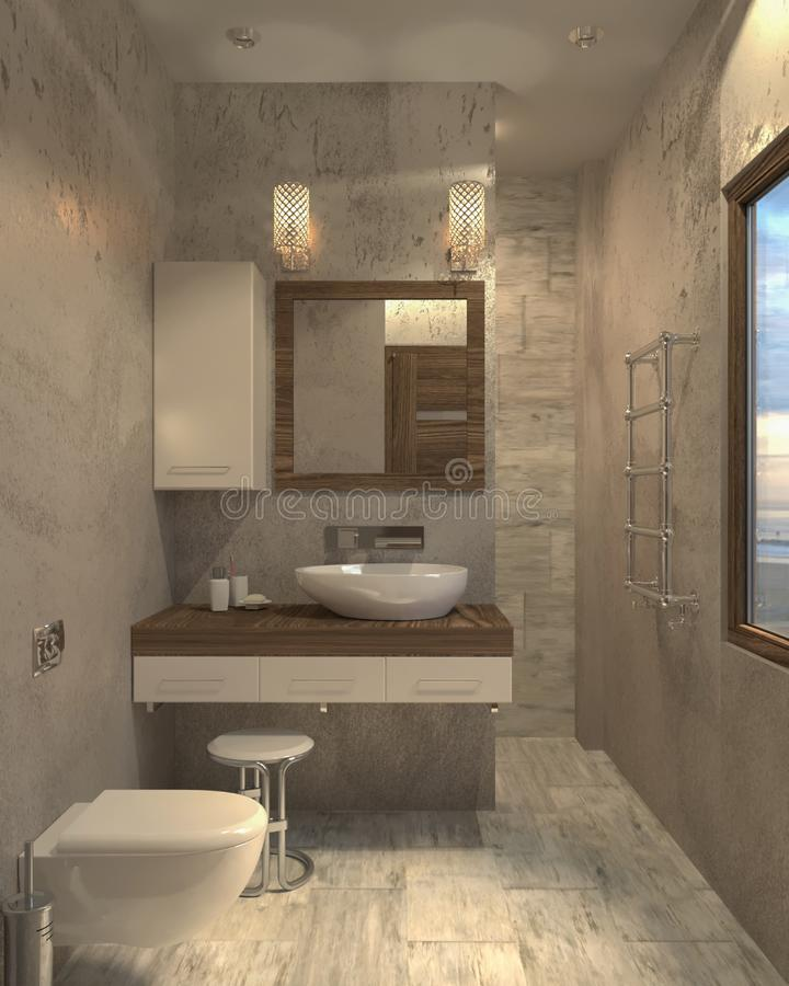 Minimalist modernt inre badrum för badrum 3d stock illustrationer