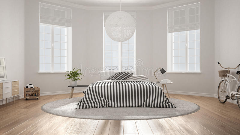 Minimalist nordic white bedroom classic modern interior for Vintage minimalist interior design