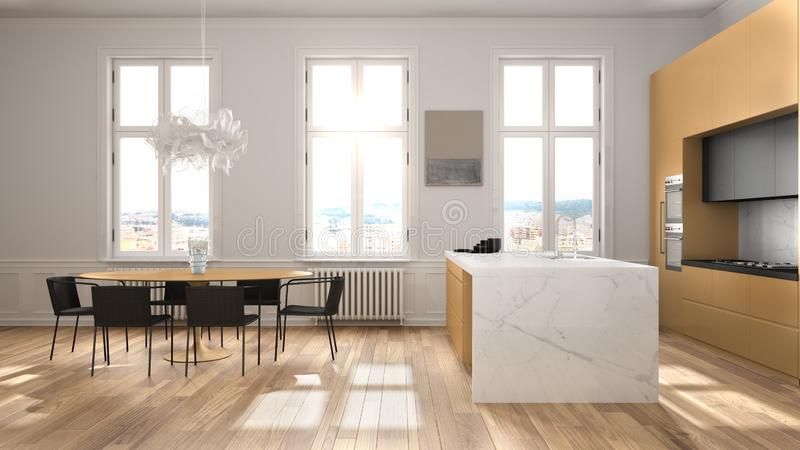 Minimalist orange and black kitchen in classic room with moldings, parquet floor, dining table with chairs, marble island and. Panoramic windows. Modern stock illustration
