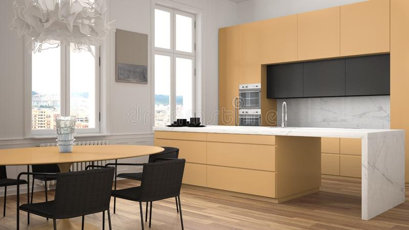 Minimalist orange and black kitchen in classic room with moldings, parquet floor, dining table with chairs, marble island and. Panoramic windows. Modern vector illustration