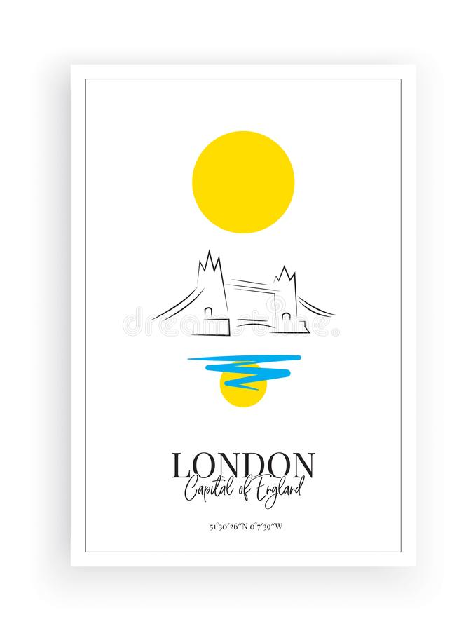 Minimalist Paint London, Poster design isolated on white background. Wording design, Wall Decals Vector, London city. Illustration stock illustration