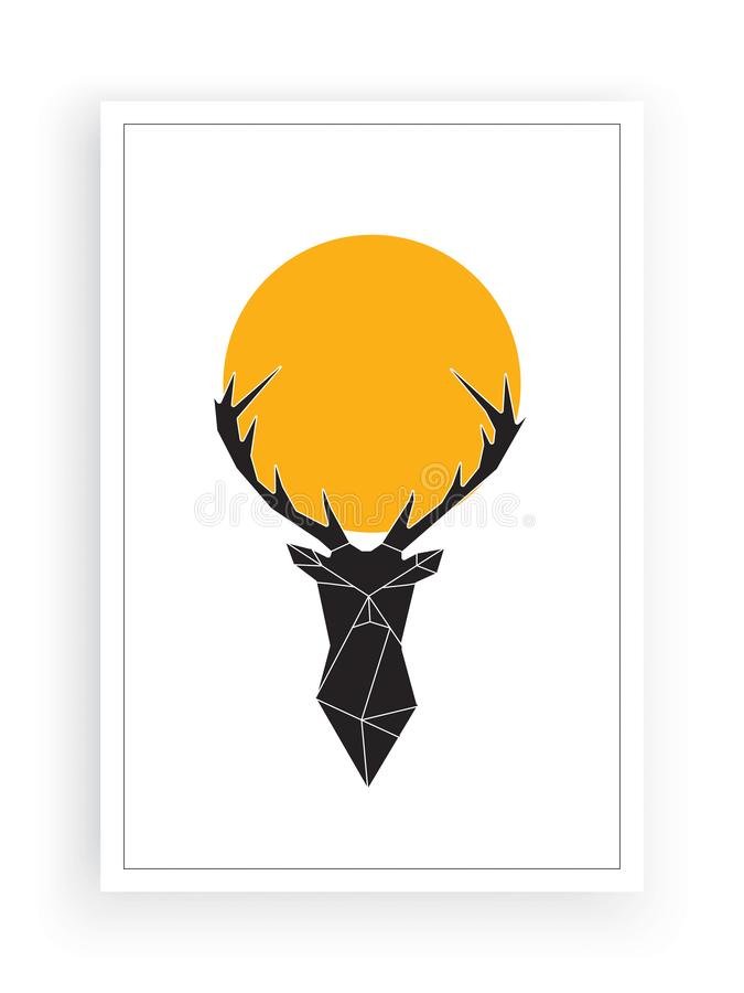 Deer on full moon, minimalist poster design vector, wall artwork, wall decals, home wall decor, deer silhouette illustration. Natural background, wildlife royalty free illustration