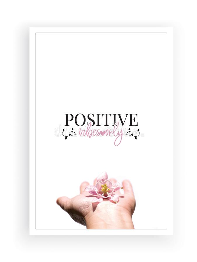 Positive vibes only, wording design, lettering, poster design isolated on white background. Hand holding gentle flower. Close up photography stock photos