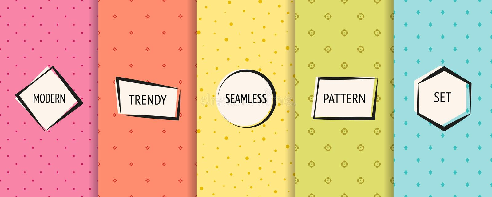 Minimalist pattern collection. Colorful geometric seamless backgrounds royalty free illustration