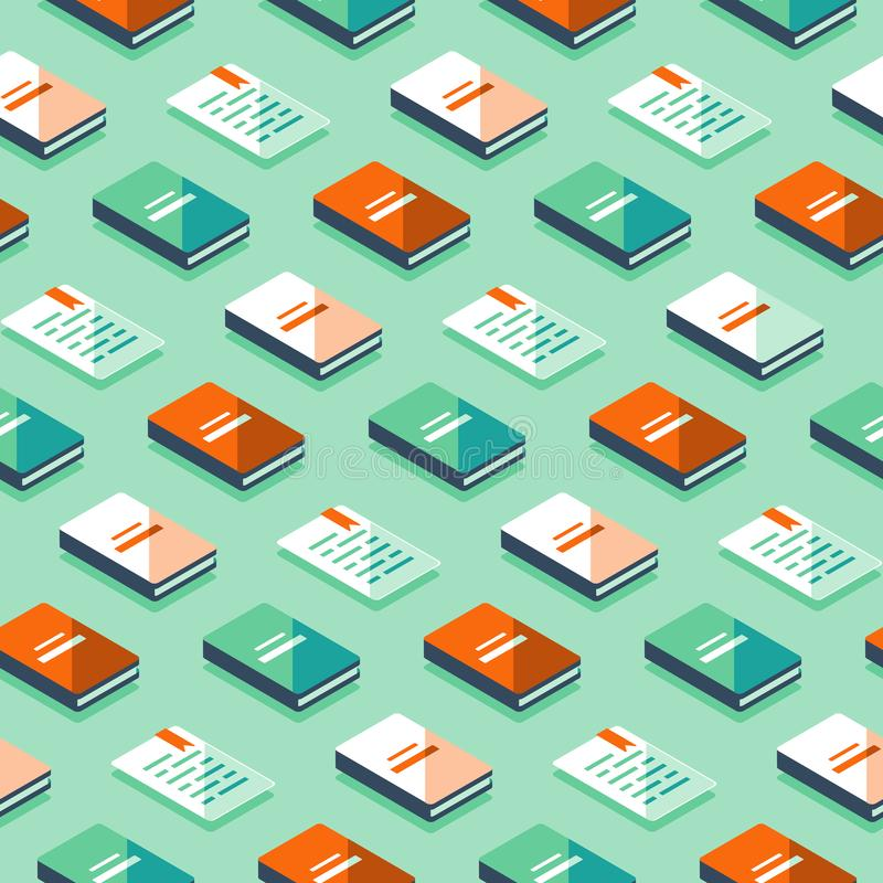 Minimalist pattern, creative background with isometric books, literature and poetry. Creative background with isometric books, publicity event backdrop stock illustration