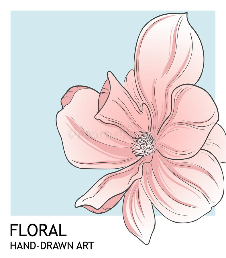Minimalist peony botanical valentine greeting card template design in coral blue color. Vector hand-drawn boranical art vector illustration