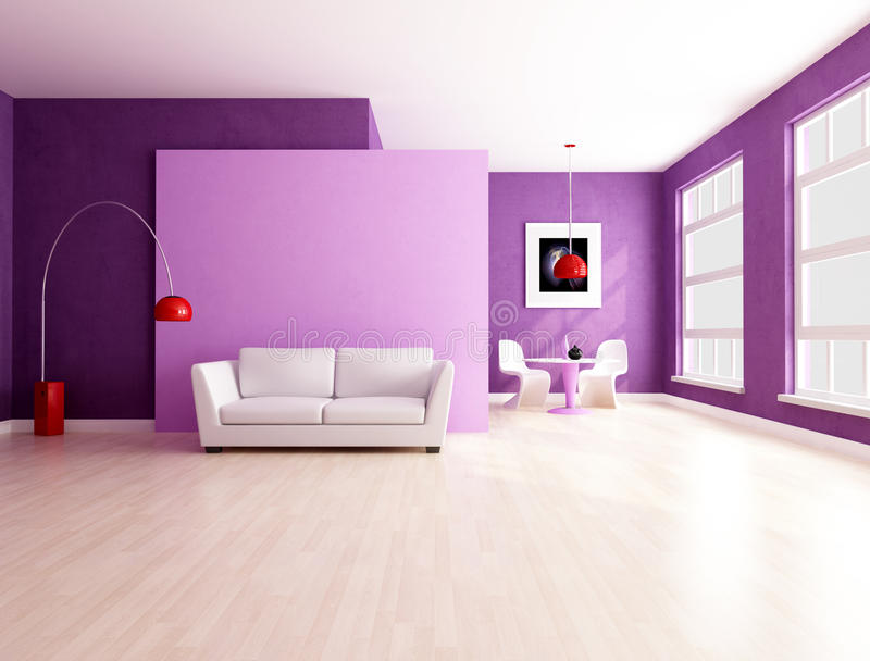 Minimalist purple living room with dining space royalty free illustration