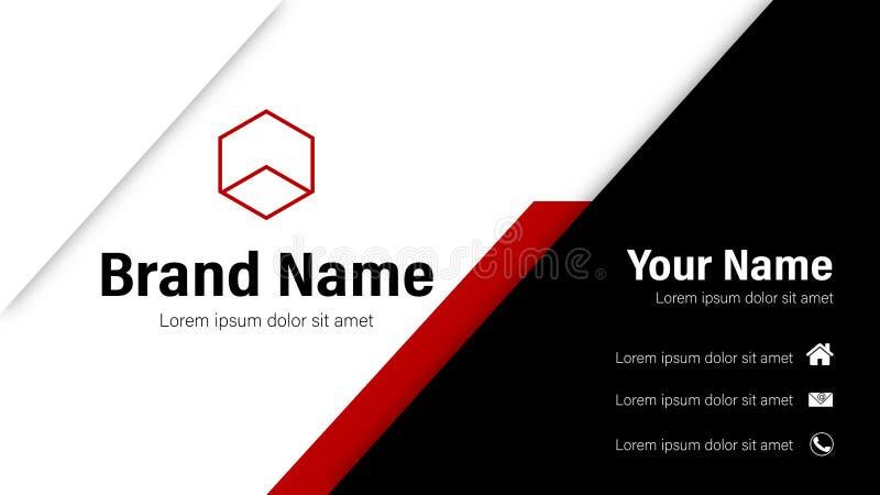 Minimalist röd och svart mall för vektorer för affärskort vektor illustrationer