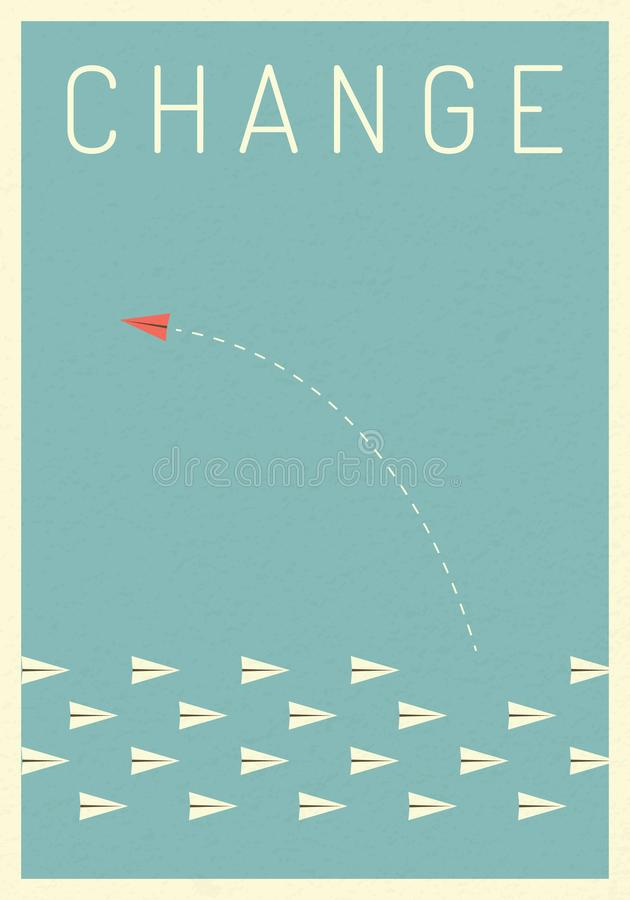 Minimalist red airplane changing direction and white ones. New idea, change, trend, courage, creative solution,business, inn. Minimalist stile red airplane stock illustration