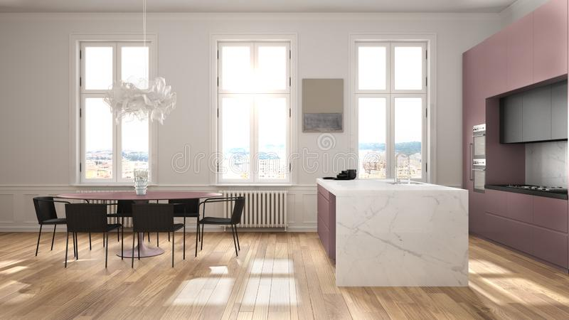 Minimalist red and black kitchen in classic room with moldings, parquet floor, dining table with chairs, marble island and. Panoramic windows. Modern royalty free illustration