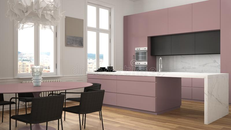 Minimalist red and black kitchen in classic room with moldings, parquet floor, dining table with chairs, marble island and. Panoramic windows. Modern stock illustration