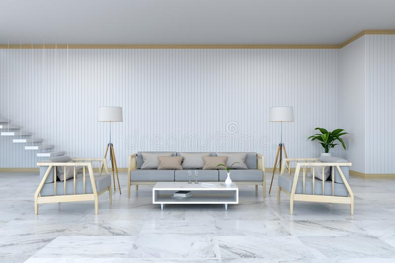 Minimalist room interior design, wood armchair and sofa on marble floor and white room/3d render royalty free illustration