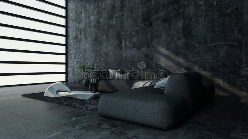 Minimalist room with sofa in modern flat stock illustration