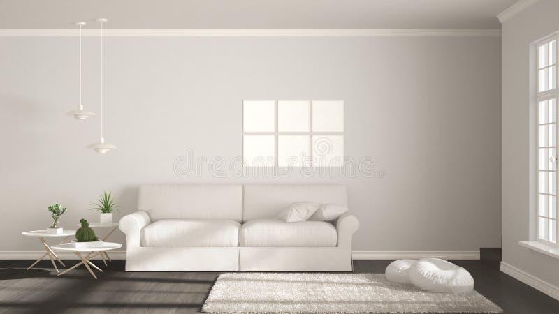 Minimalist rum, enkel vit uppehälle med det stora fönstret, scandinavi royaltyfri illustrationer
