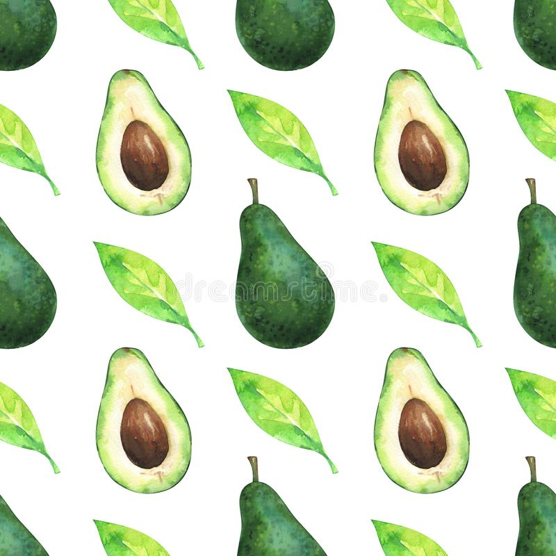 Minimalist seamless pattern with watercolor slices and whole avocado and green leaf stock illustration