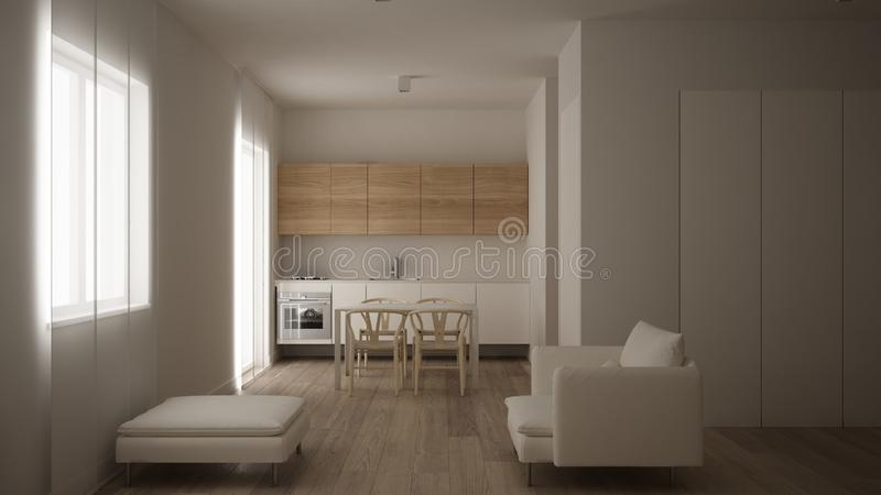 Small Apartment With Kitchen Living Room And Bedroom White And Stock Illustration Illustration Of Plant Parquet 91656676