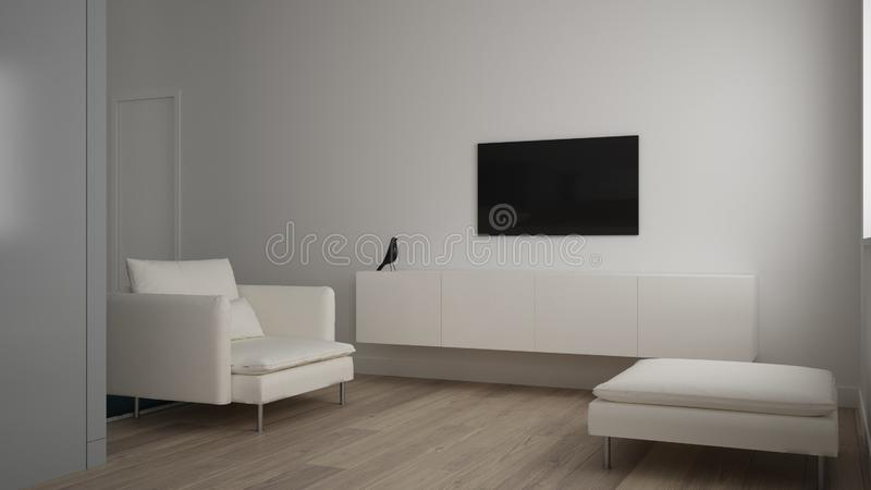Minimalist small living room in one bedroom apartment, living room with sofa and pouf, tv rack, parquet floor, white interior royalty free stock photo