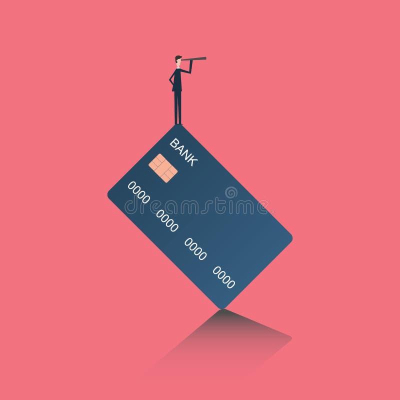 Minimalist stätta Affärsfinans Lyckat visionbegrepp med symbolen av affärsmannen och teleskopet, symbolledarskap, s royaltyfri illustrationer