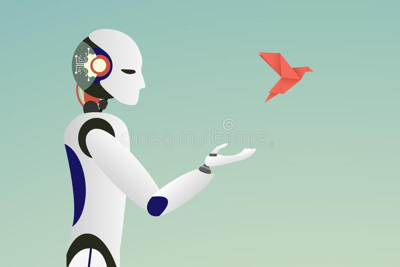 Minimalist stätta vektor av roboten som släpper en röd pappers- fågel för frihetsbegrepp vektor illustrationer