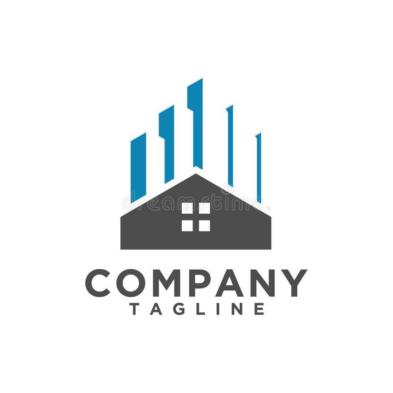 Minimalist stil för Real Estate logodesign royaltyfri illustrationer