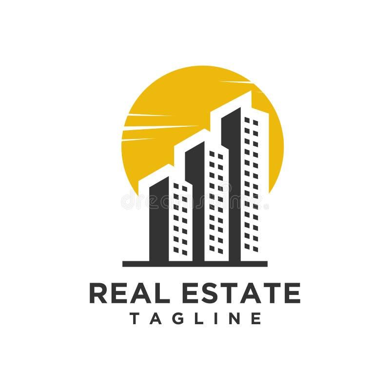 Minimalist stil för Real Estate logodesign stock illustrationer