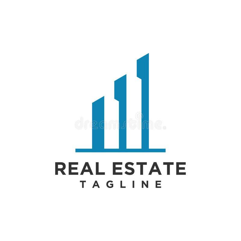 Minimalist stil för Real Estate logodesign vektor illustrationer