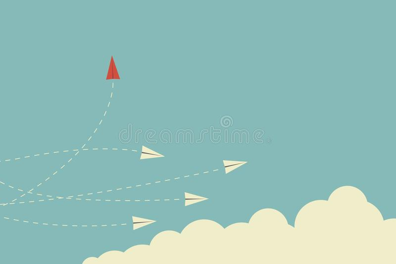 Red airplane changing direction and white ones. New idea, change, trend, courage, creative solution,business, inn. Minimalist stile red airplane changing stock illustration