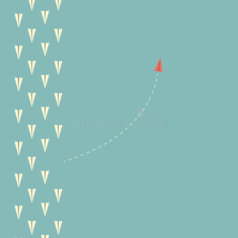 Red airplane changing direction and white ones. New idea, change, trend, courage, creative solution,business, inn. Minimalist stile red airplane changing vector illustration