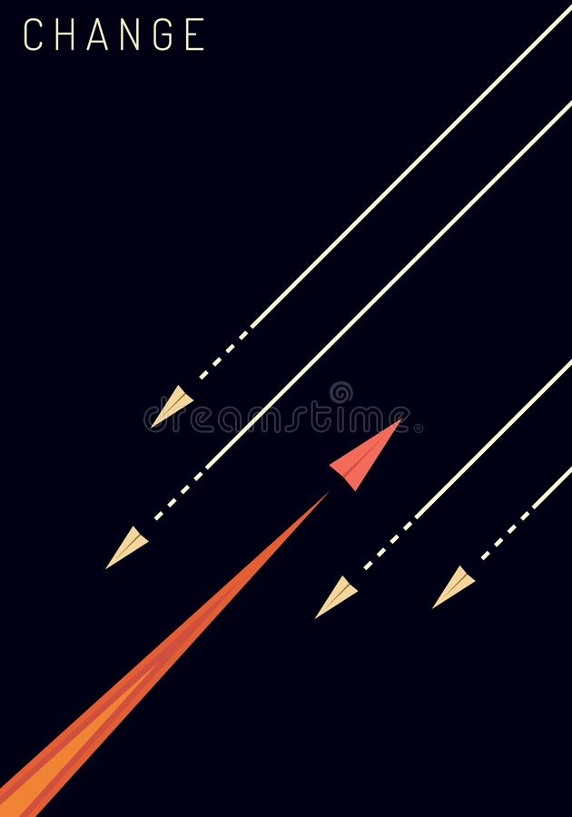 Minimalist stile red airplane changing direction and white ones. New idea, change, trend, courage, creative solution, innovation a royalty free illustration