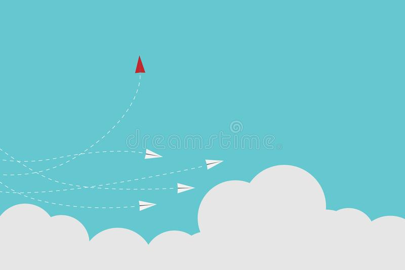 Red airplane changing direction and white ones. New idea, change, trend, courage, creative solution, innovation a. Minimalist stile red airplane changing stock illustration