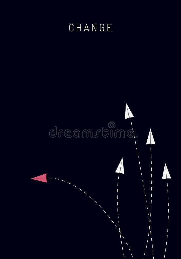 Minimalist stile red airplane changing direction and white ones. New idea, change, trend, courage, creative solution, innovation a. Nd unique way concept stock illustration