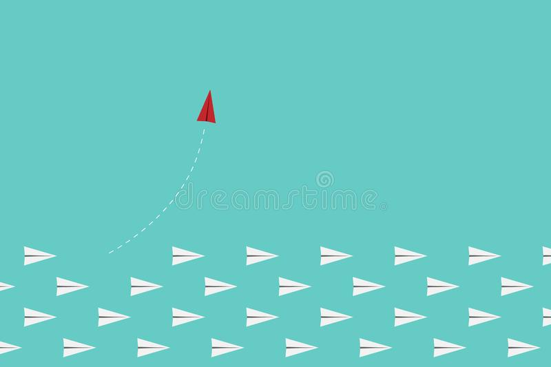 red airplane changing direction and white ones. New idea, change, trend, courage, creative solution, innovation a vector illustration