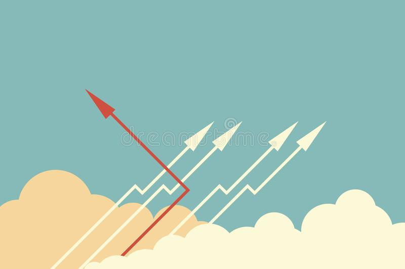 Red arrow changing direction and white ones. New idea, change, trend, courage, creative solution,business, innova. Minimalist stile red arrow changing direction stock illustration