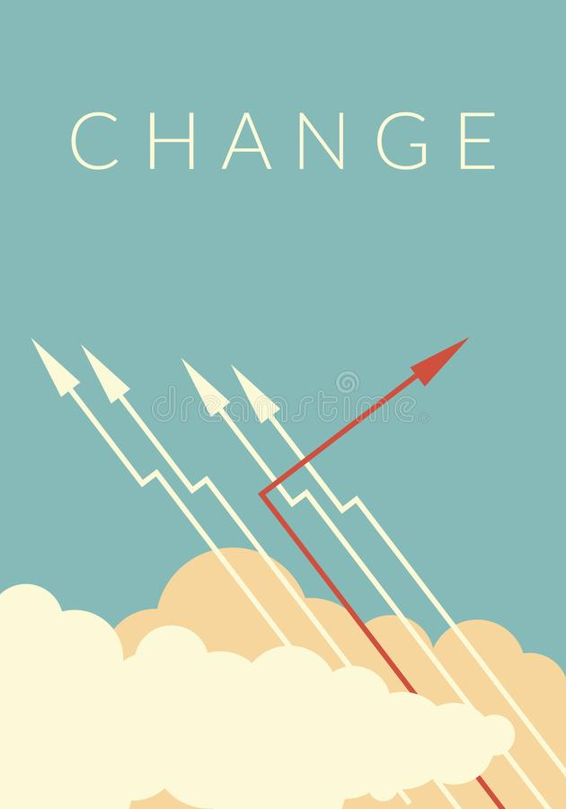 Red arrow changing direction and white ones. New idea, change, trend, courage, creative solution,business, innova. Minimalist stile red arrow changing direction royalty free illustration