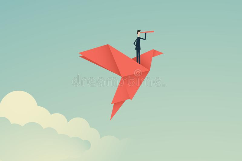 Minimalist stile. vector business finance. Successful vision concept with icon of businessman and telescope, Symbol leadership,. Strategy, mission, objectives stock illustration