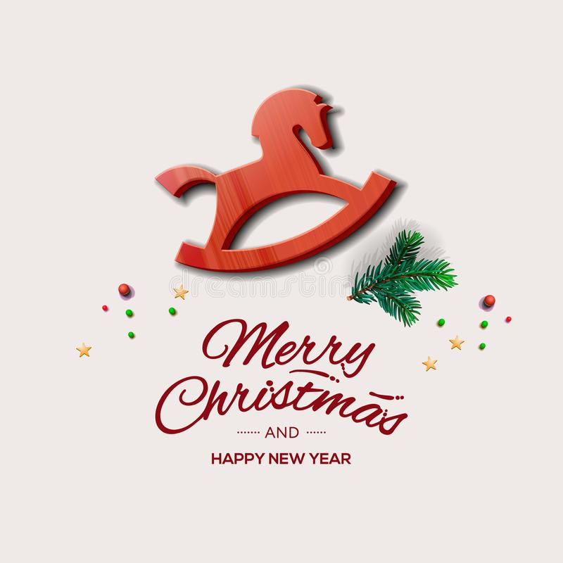 Minimalist style Christmas greeting card with red wooden rocking horse, vector illustration. Minimalist style Christmas greeting card with wooden rocking horse royalty free illustration