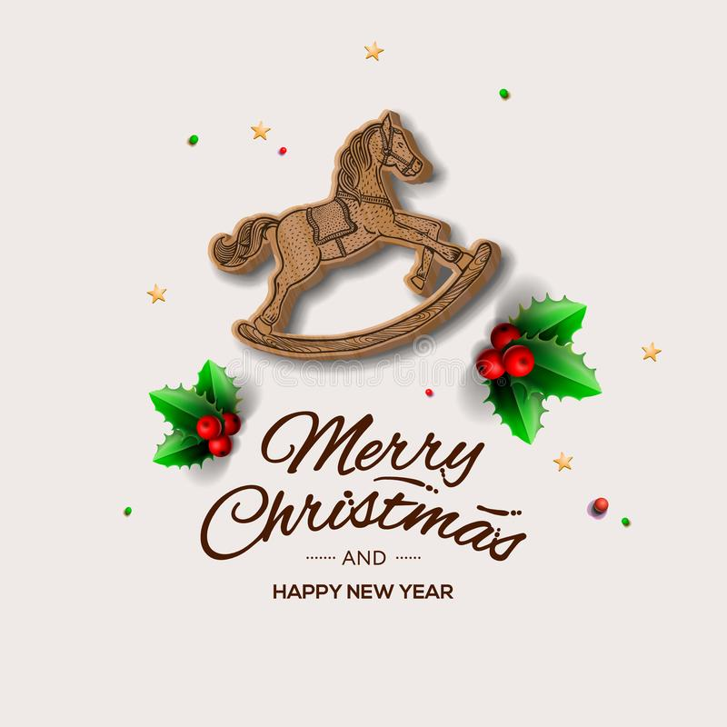 Minimalist style Christmas greeting card with wooden rocking horse, vector illustration. Minimalist style Christmas greeting card with wooden rocking horse stock illustration