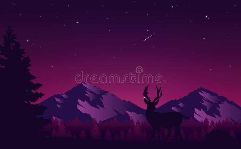 Minimalist Sunset Mountain Vector Landscape Stock Vector