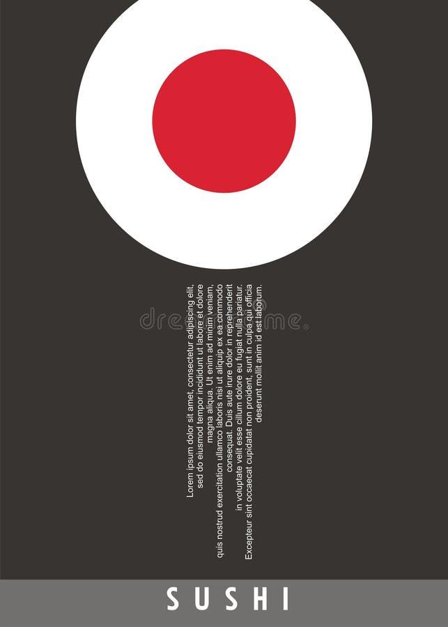 Minimalist sushi poster design for Japanese restaurant royalty free illustration