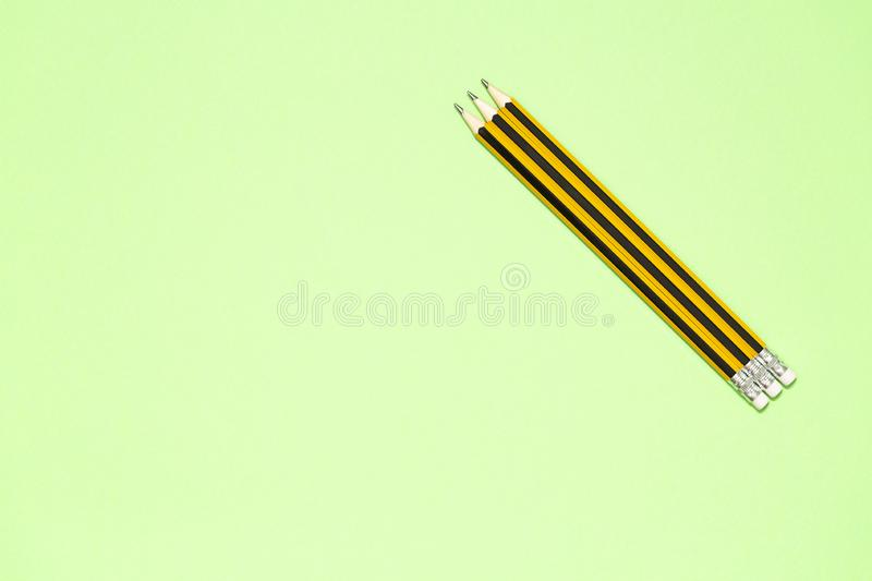 Minimalist template with copy space by top view close up macro photo of wooden yellow pencil royalty free stock photography