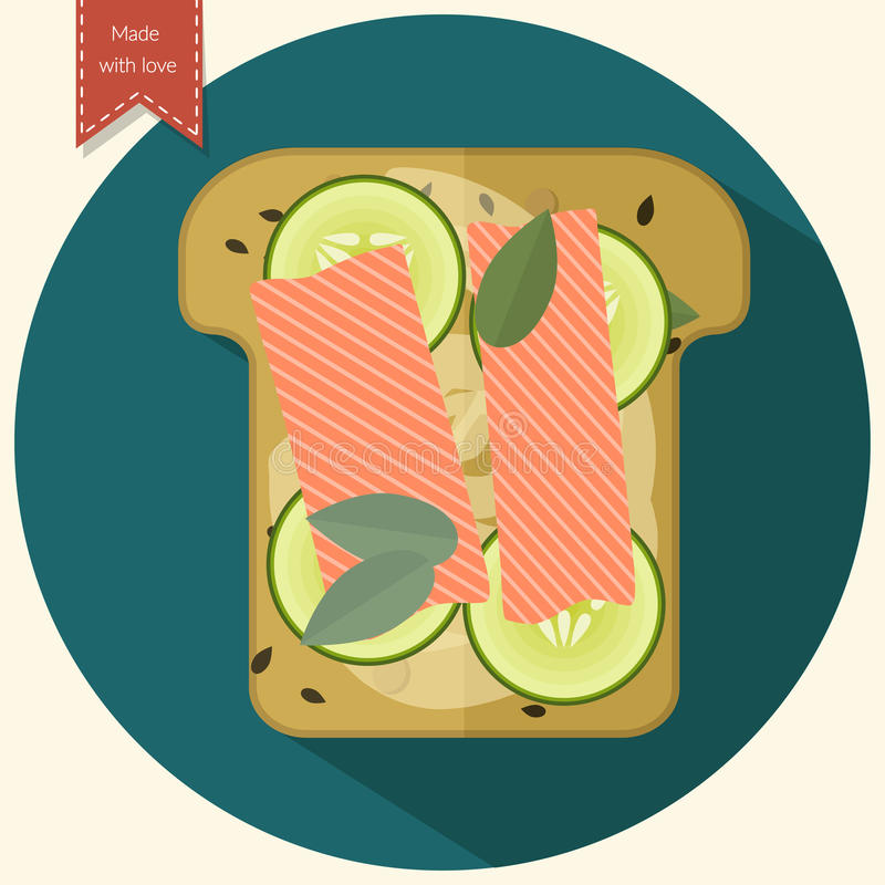 Minimalist toast icon. Sandwich with salmon and cucumber. Flat design. Vector illustration royalty free illustration