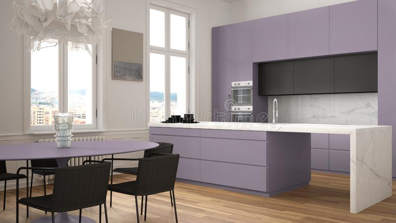 Minimalist violet and black kitchen in classic room with moldings, parquet floor, dining table with chairs, marble island and. Panoramic windows. Modern royalty free stock image