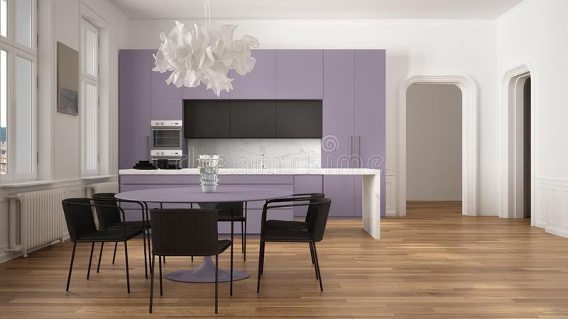 Minimalist violet and black kitchen in classic room with moldings, parquet floor, dining table with chairs, marble island and. Panoramic windows. Modern royalty free illustration