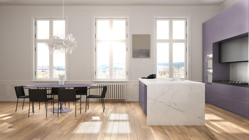 Minimalist violet and black kitchen in classic room with moldings, parquet floor, dining table with chairs, marble island and. Panoramic windows. Modern stock illustration