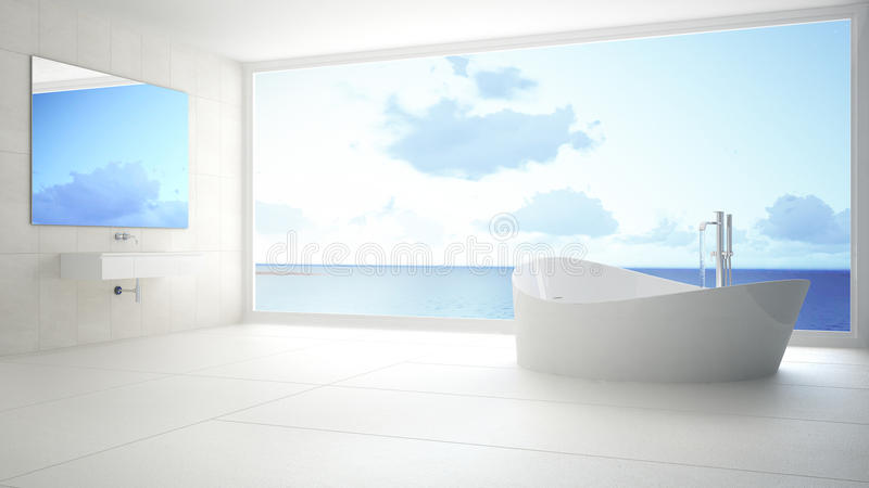 Minimalist vit- och grå färgbadrum med det stora panorama- fönstret, su royaltyfria bilder