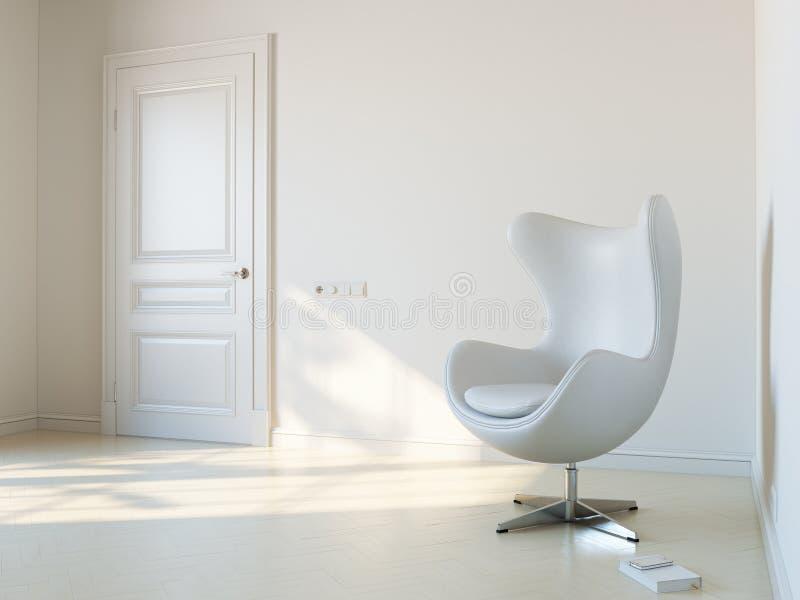 Minimalist vitt inre rum med den 2d versionen för lyxig fåtölj arkivfoton