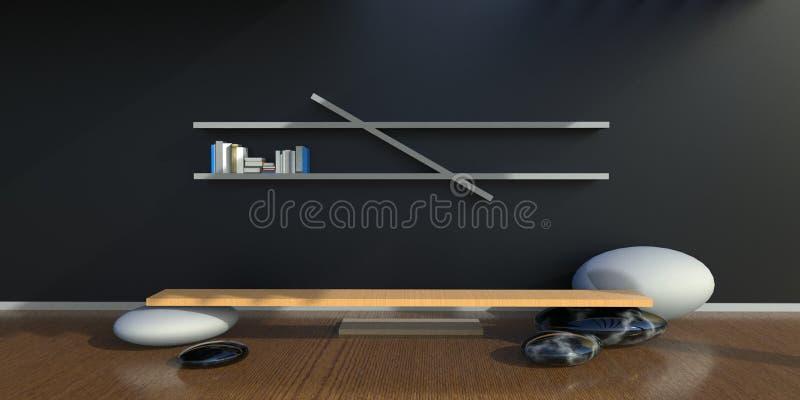 Minimalist vivo del espacio de trabajo del zen del estudio y en la pared trasera libre illustration