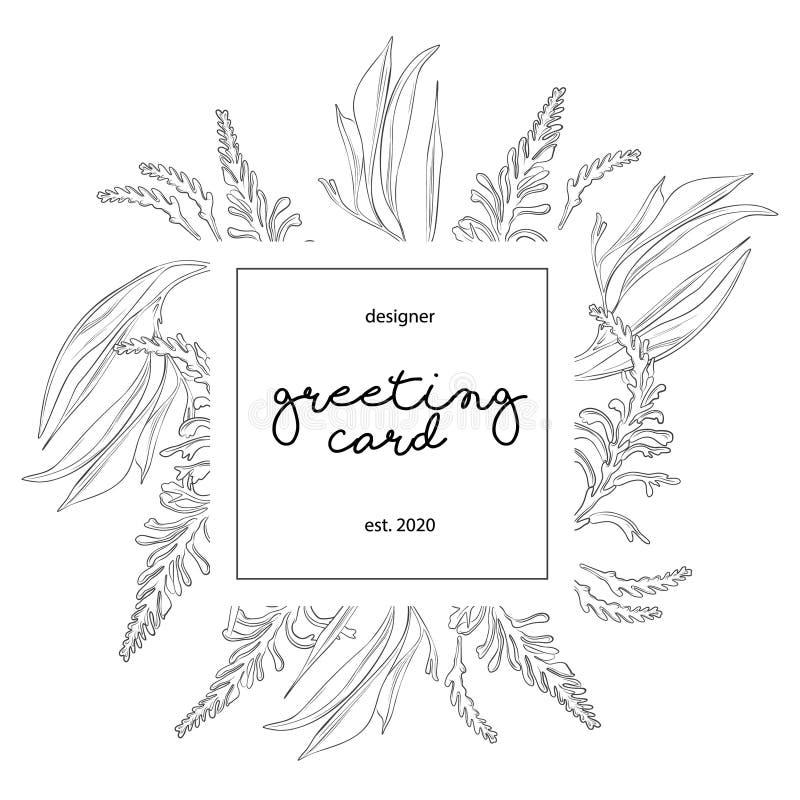 Minimalist wedding invitation card template design, floral black line art ink drawing with square frame on light grey. vector illustration